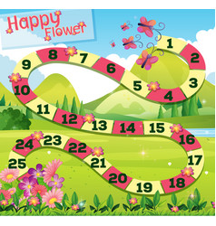 Boardgame template wtih butterflies in garden vector