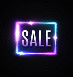 bright 3d neon square sale sign on transparent vector image