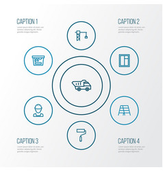 Building outline icons set collection of tower vector