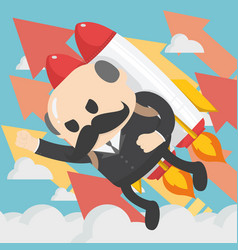 Businessman boss flying off with jet pack flat on vector
