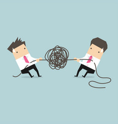 Businessman trying to unravel tangled rope vector