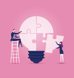 Businessmen sitting on ladder completing an idea vector