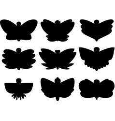 butterflies hand sketch silhouette vector image