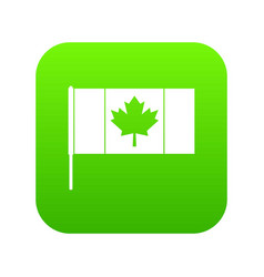 canada flag with flagpole icon digital green vector image