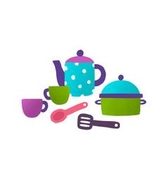 children toy tableware flat vector image