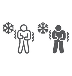 Chill human line and glyph icon flu and covid-19 vector
