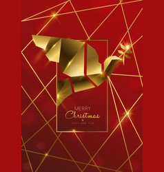 christmas and new year card luxury gold dove vector image