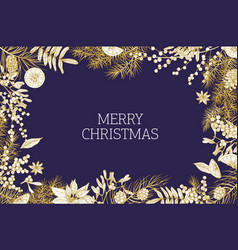 christmas greeting card template decorated by vector image
