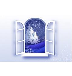 christmas tree under the snowfall merry vector image