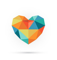 Colorful polygon heart vector