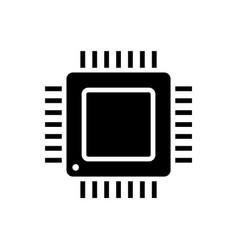 Computer processor black glyph icon on white vector