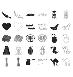 country united arab emirates blackoutline icons vector image
