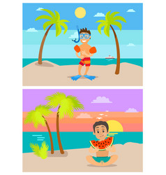 diver on vacations children at beach in summer vector image