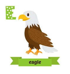 Eagle E letter Cute children animal alphabet in vector image