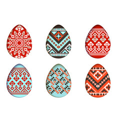 easter eggs set in paper cut style vector image