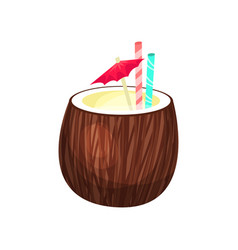 exotic coconut cocktail cartoon vector image