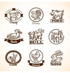 Farm Labels Set vector