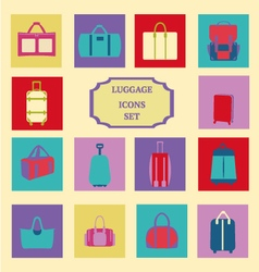 fashion luggage Baggage theme icons Collection vector image