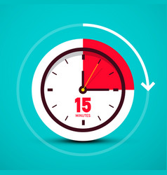 fifteen 15 minutes time symbol analog clock icon vector image