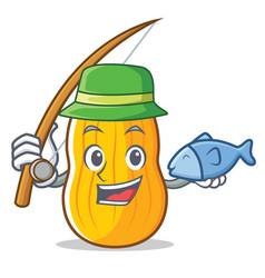 Fishing butternut squash mascot cartoon vector