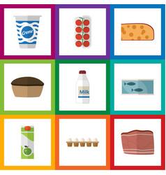 flat icon food set of tomato tart bottle and vector image