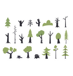 flat trees set forest tree nature plant vector image