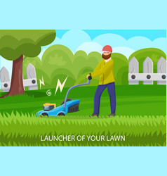 garden equipment lawn mower concept vector image