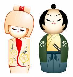 Geisha and samurai vector