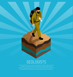 Geologist isometric poster vector