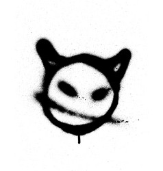 Graffiti sprayed devil emoticon in black on white vector
