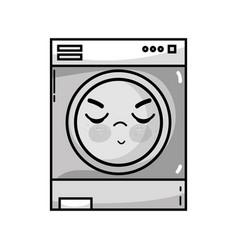Grayscale kawaii cute angry washing machine vector