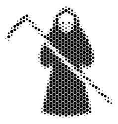 Halftone dot death scytheman icon vector