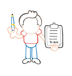 hand-drawn cartoon of man holding pen and vector image