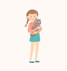 happy child with a cat teenage girl with her cat vector image