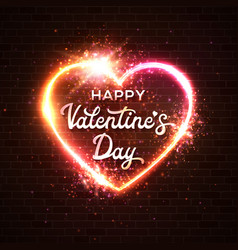 happy valentines day card lettering inscription vector image