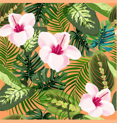 Hibiscus flowers and tropical plants seamless vector