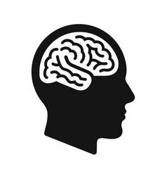 human head profile with brain symbol black icon vector image