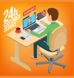 Isometric image service for customers man sitting vector