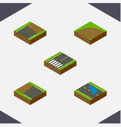 Isometric road set of incomplete plash sand vector