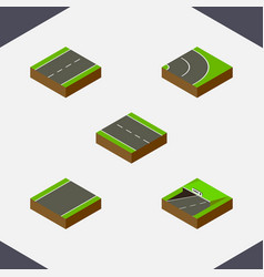 Isometric way set of driveway single-lane subway vector