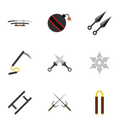 Japanese weapons icons set flat style vector