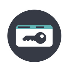 Key card electronic pass flat icon vector