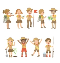 Kids Scouts Camping Set vector