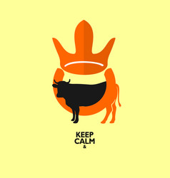 king cow logo design vector image