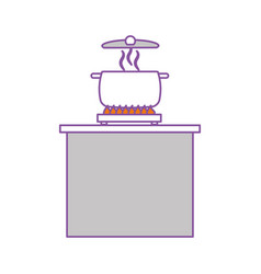 kitchen pot with stove vector image