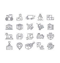 large set delivery icons for packages vector image