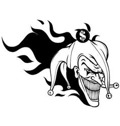 Laughing angry joker character joker head face vector