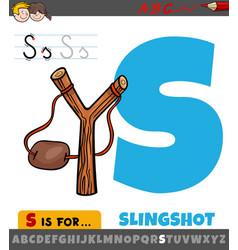 Letter s worksheet with cartoon slingshot object vector