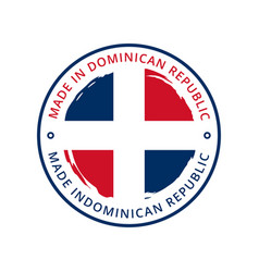made in dominican republic round label vector image