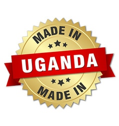 made in Uganda gold badge with red ribbon vector image